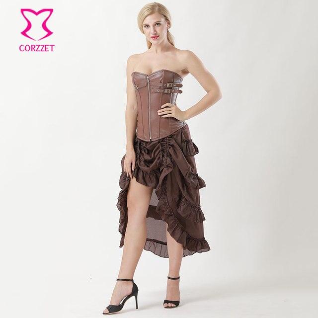 ff869b9cc402 Brown Faux Leather Buckle Zip korzet Burlesque Korzet Šaty gotické ...