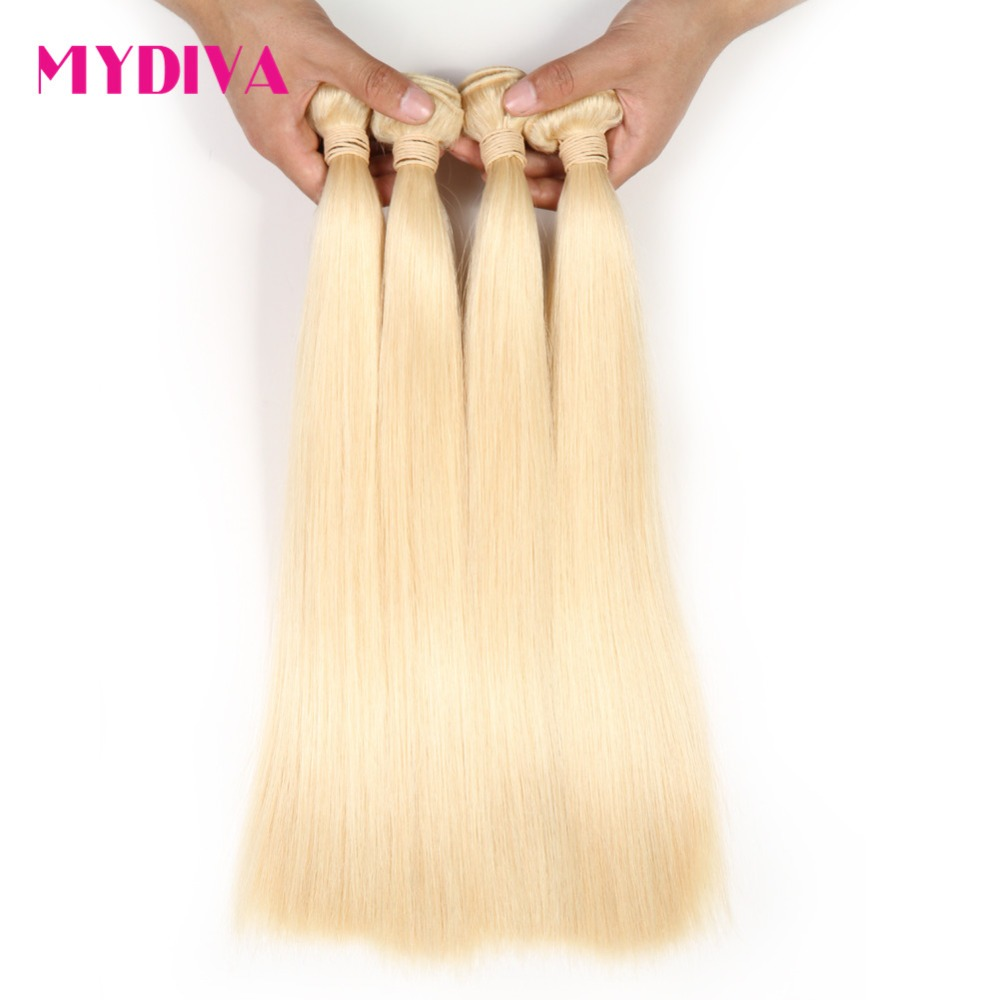 Peruvian Platinum Blonde Bundles Straight 100% Remy Human Hair Extensions Blonde 613 Hair 10 - 24 Inch 3 Or 4 Bundles Deals