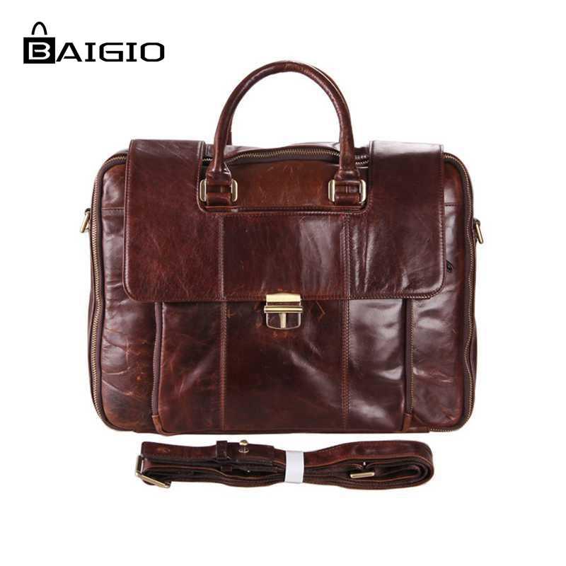 """Baigio Men Leather Briefcase Bag 15"""" Laptop Cases Vintage Brown Designer Men Messenger Bag Large Tote Business Shoulder Men Bags"""