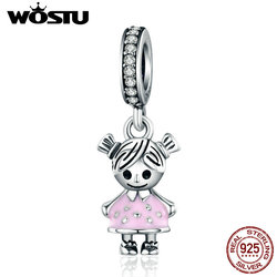 WOSTU Hot Sale 925 Sterling Silver Lovely Girl Boy Pendant Charm fit Beads Bracelet Necklace DIY Jewelry Daughter Gift CQC543