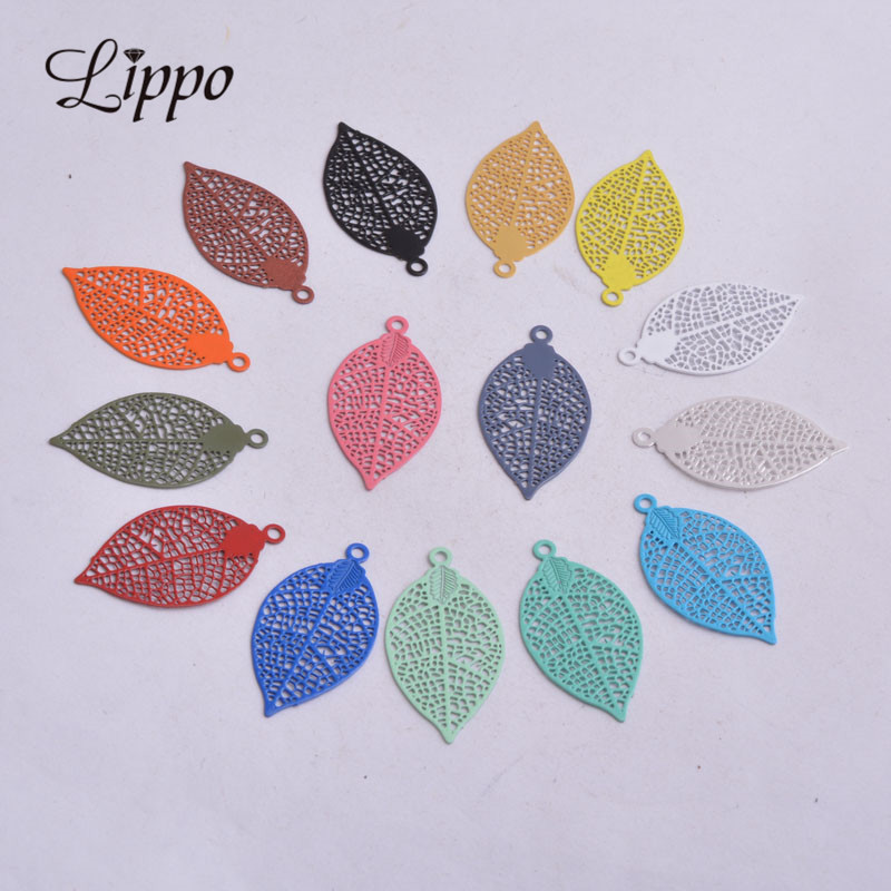 50pcs AA2592 15*28mm Painted Brass Leaves Charms Filigree Leaf  Earrings Findings Pendants DIY Jewelry Materials 1