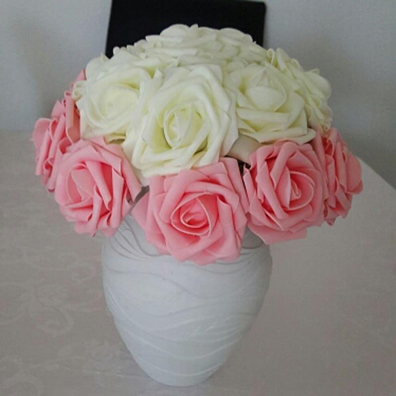 11 ngjyrat e reja 10 kokat 8cm Lule artificiale me trëndafilë Nusja - Furnizimet e partisë