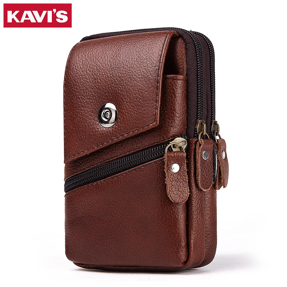 KAVIS 100% Genuine Leather Waist Packs Men Travel Fanny Pack Belt Loops Hip Bum Bag Mobile Phone Pouch Holder Male High Quality