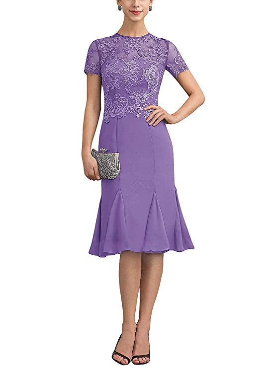 Women s Tea Length Mother of The Bride Dresses with Short Sleeves Custom Made Bride Mother