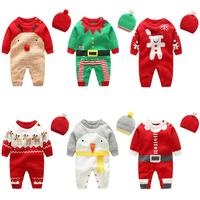 Baby Boys Rompers Winter Newborn Girls Christmas Jumpsuits Infant Bebe Overalls Knitted Toddler One Piece Wear with Hat CA3421