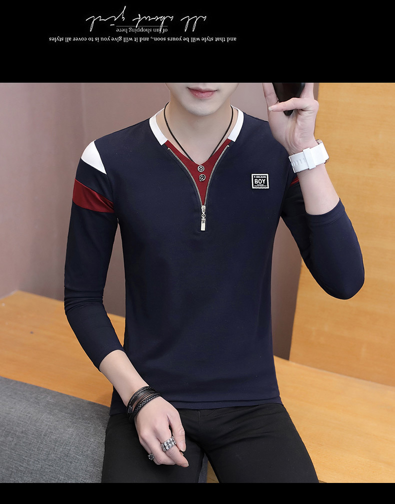 2019 Spring T-Shirt Men Long Sleeve Casual Zipper T Shirts Self-cultivation Design Simple T Shirt Brand New Round Neck Homme 17