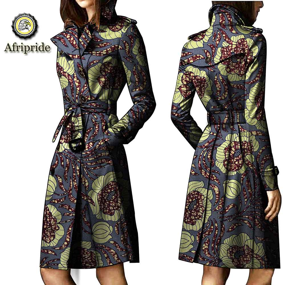 2019 african coats for women AFRIPRIDE bazin riche ankara print pure cotton Trench private custom wax batik o neck S1824015 in Trench from Women 39 s Clothing