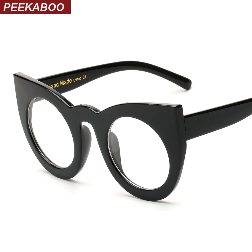 ✓Peekaboo trendy eye glasses frames for women cat eye black clear ...