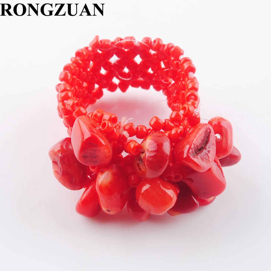 แฟชั่นเครื่องประดับ Red Coral Chips ลูกปัดยืดแหวนนิ้วมือ US 6 ~ 10 1pcs TJ3031
