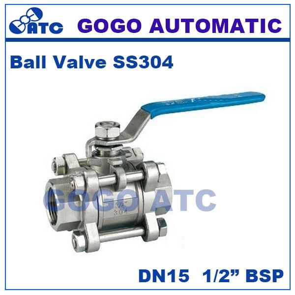 GOGO Hoge kwaliteit Type drie rvs schakelaar kogelkraan 1/2 inch bsp DN15 SS304 316 2 manier water bal valve