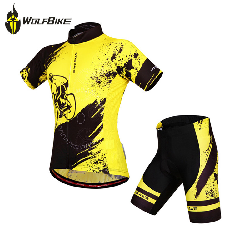 WOSAWE Men's Cycling Clothes Jersey Sets Sports Wear Motocross MTB Bike Bicycle Cycle Jersey Suit Short Sleeve Cycling Clothing