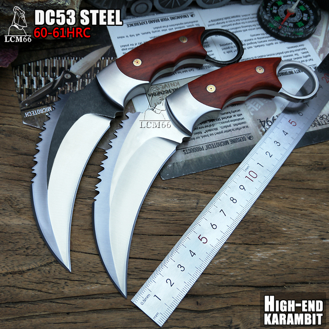 LCM66 tactische karambit Hoge-end DC53 staal schorpioen claw mes outdoor camping jungle survival battle Fixed blade zelfverdediging
