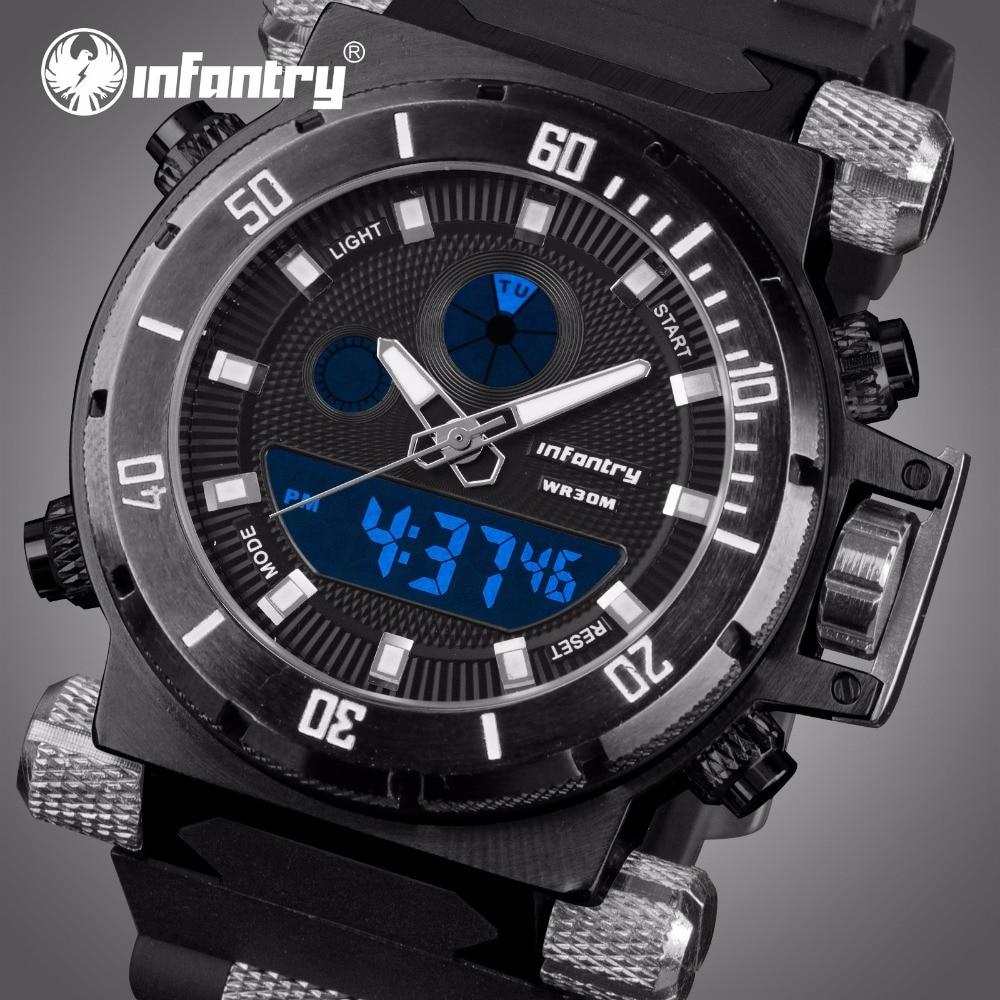 INFANTRY Mens Relojes de Cuarzo Digital Negro Correa de Goma Relojes - Relojes para hombres
