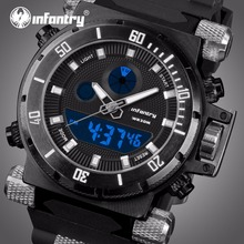 INFANTRY Herre Digitale Quartz ure Black Rubber Strap Sportsure Auto Dato LED Display Armbåndsure Relogio Masculino