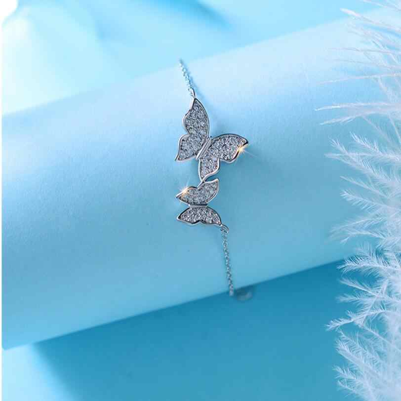 New Simple Fashion Sweet Zircon Butterfly Bracelets & Bangles For Women 925 Sterling Silver Wedding Jewelry Gifts pulseira SAB34