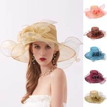 New Elegant Summer Sun Hats For Women Tea Party Organza Flower Beach Cap Wide Brim Ladies Church Dress Kentucky Derby Fedoras(China)