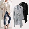 2017 Европа Новое Прибытие Женщин С Длинным Рукавом Большой Нагрудные Куртка Мода Простой Средний Стиль Пальто Нерегулярные Женский Ветровки Топы
