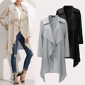2017 Europe New Arrival Women Long Sleeve Large Lapel Jacket Fashion Simple Medium Style Coat Irregular Female Windbreaker Tops