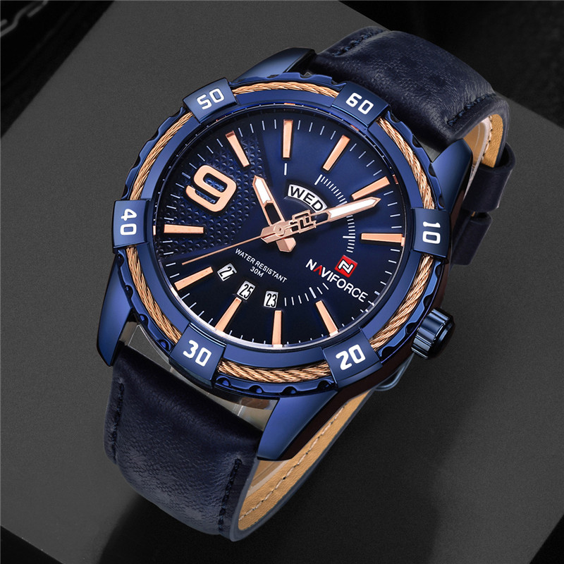 NAVIFORCE Watch Men Montre Homme Sport Mens Watches Top Brand Luxury Military Army Business Genuine Leather Quartz Male Clock opk biker stainless steel men bracelet