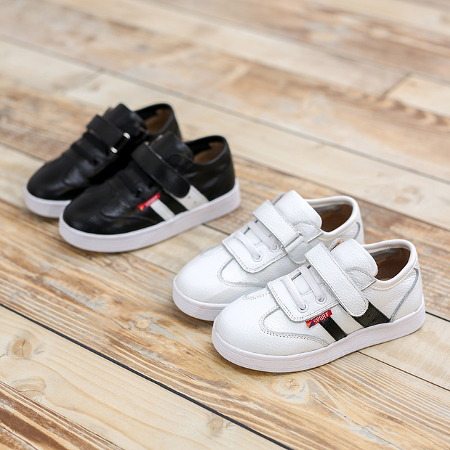 2016 Autumn Leather Children's Shoes Black White Shoes Casual Footwears Boys Girls Breathable Soft Skateboard Kids Child