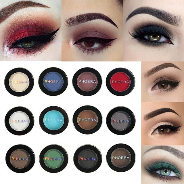 PHOERA mate sombra de ojos brillo sombra de ojos polvo 12 colores pigmento desnudo de larga duración disponible maquillaje resistente al agua TSLM1