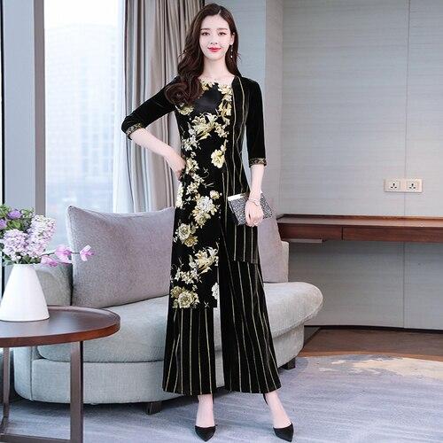 Pièces Printemps Feminino Conjunto Chinois Femme Noir Costume Large Pantalon Style Bas Rayé 2 Velours Or Pattes Femmes Vintage En Ensemble rfzftwq