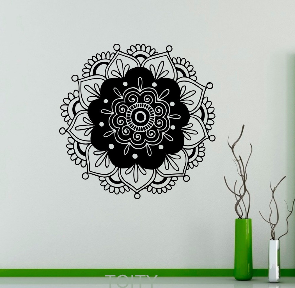 Mandala wall decor sticker mehndi ornament yoga namaste lotus flower mandala wall decor sticker mehndi ornament yoga namaste lotus flower vinyl decal gym office home interior decoration art mural in wall stickers from home izmirmasajfo