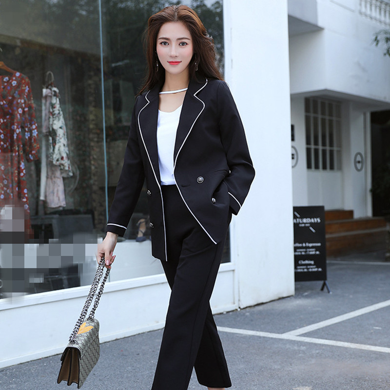 New Hot Women's Suit Two-piece Suit (jacket + Pants) Women's Slim Fashion Solid Color Double-breasted Suit Women's Business Suit