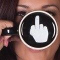 O Envio gratuito de 1 Peças Tem Um Dia Agradável Caneca Up Yours Presentes Do Escritório de Cerâmica Xícaras de Café Personalidade Do Dedo Médio