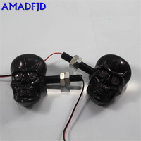Free Shipping 2 PCS Lot Amber Light 4 Led Black 12V Universal Motorcycle Skeleton Head