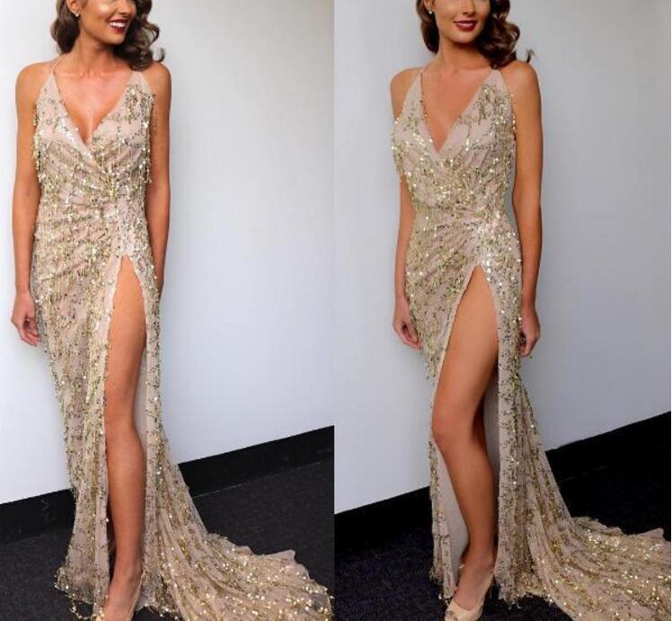 vestidos de festa gold shiny sequin long evening maxi  1