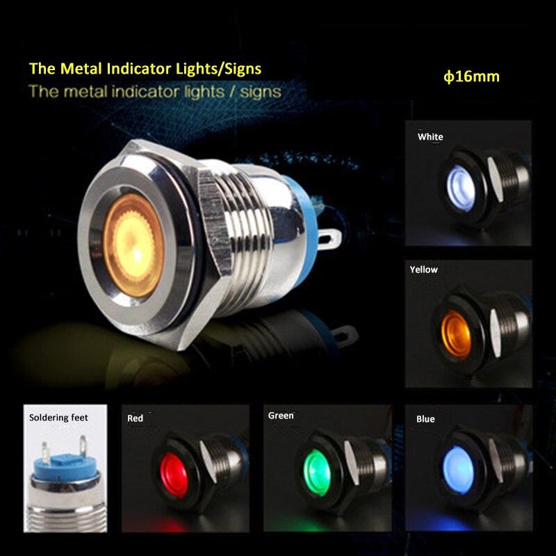 110V 16mm Blue LED Power Indicator Signal Light
