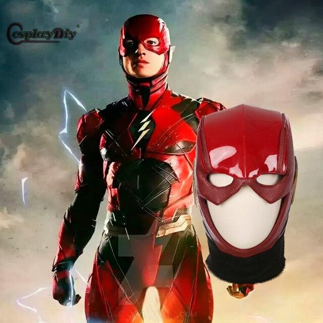 CosplayDiy Liga de la justicia disfraces Flash cosplay máscara de cuero  rojo casco Halloween Disfraces Accesorios dd71cd819b6