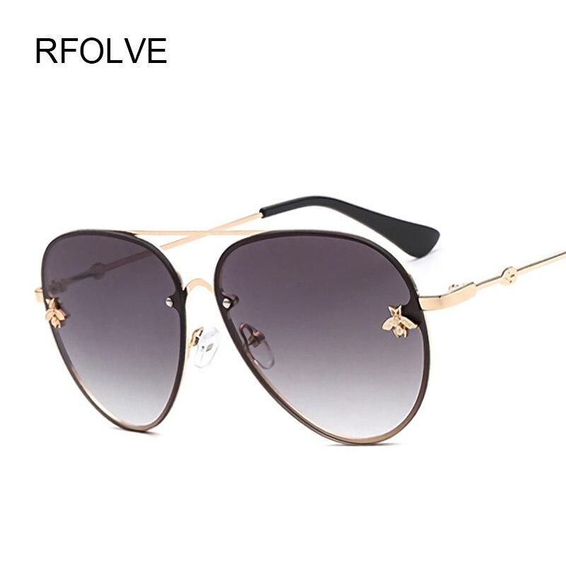 RFOLVE Luxus Pilot Sonnenbrille Frauen Marke Legierung Brillen Rahmen  Vintage Sonnenbrille Für Frauen UV400 Brille Damen Shades R8872 a02dd77cd9