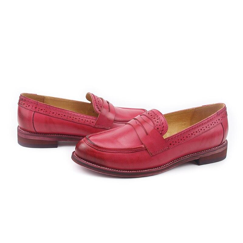 2018 Femme Style Loisirs D'été Main Chaussures En Marron New Cuir De British Femelle Glissement kaki Véritable Plates rouge Décontractées Sur qAwt5XF