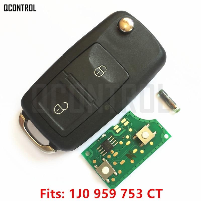 QCONTROL Car Remote Key DIY for SKODA Fabia Superb Octavia 1J0959753CT/5FA009259-00 HLO 1J0 959 753 CT 434MHz ID48 Blank