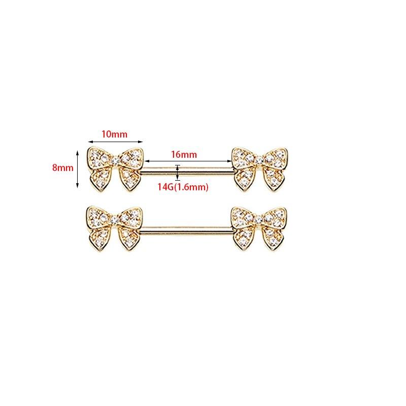 2Pcs New Arrival Gold Color Bow Flower Shape Piercing Shield Bars 14G 316L Surgical Steel Piercing Nipple Piercing for Woman Men