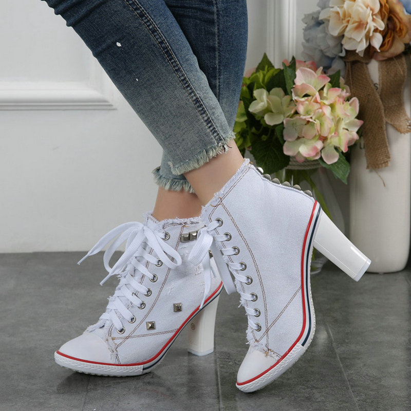 white Hauts Mode En Ville Blue Demin Rivet Mc De Chaussures green blue 53 Sexy Talons Tennis Black Zapatos Femmes Dames dark Cowboy Toile vq8Bxw86