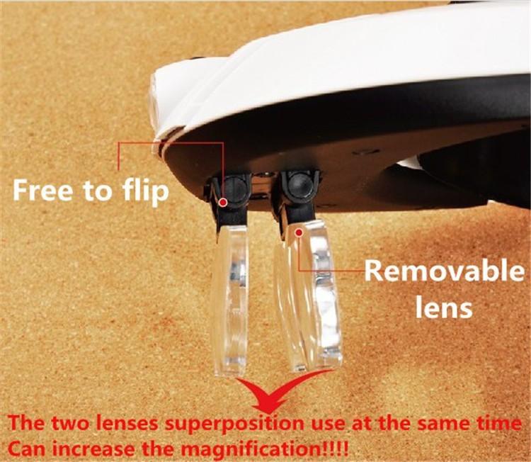 Multi Power LED Iluminación Diadema manos libres Lupa Casco Lupa - Instrumentos de medición - foto 4