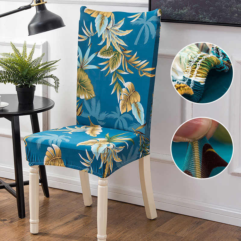 Beach Style Printing Dining Chair Cover Removable Elastic Seat Chair Protector For Hotel Banquet Home Wedding Decoration
