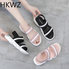 Thick-soled sandals 2019 brand new summer casual wild breathable women's shoes knit elastic sports sandals  zapatos de mujer