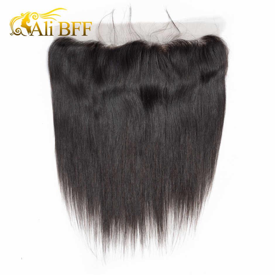 Pelo lacio malasio BFF de ALI, 13x4, cierre Frontal de malla con mechones, extensiones de cabello humano mechones Remy con parte Frontal de encaje