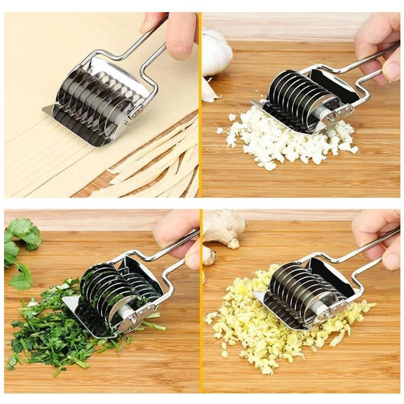 Small Kitchen Appliances Home & Garden Stainless Steel Kitchen Noodle Maker Lattice Roller Docker Dough Cutter Tools US