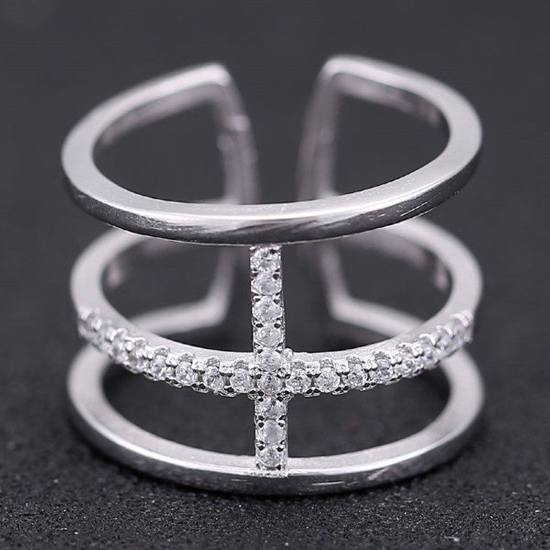 Multilayer Crystal Cross Finger Ring for Men Women Party Punk Retro Rings Silver Color Jewelry Rock Anel Birthday Stone Gifts