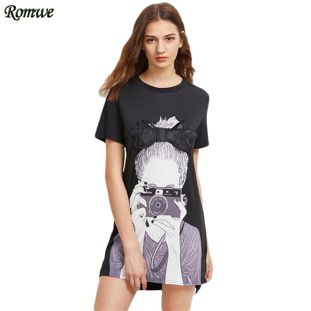 5ceb9eedb12 ROMWE Womens Summer Dresses 2018 Summer Black Girl Print Bow Detailed Cute  Dress Short Sleeve Dip Hem A Line Dress