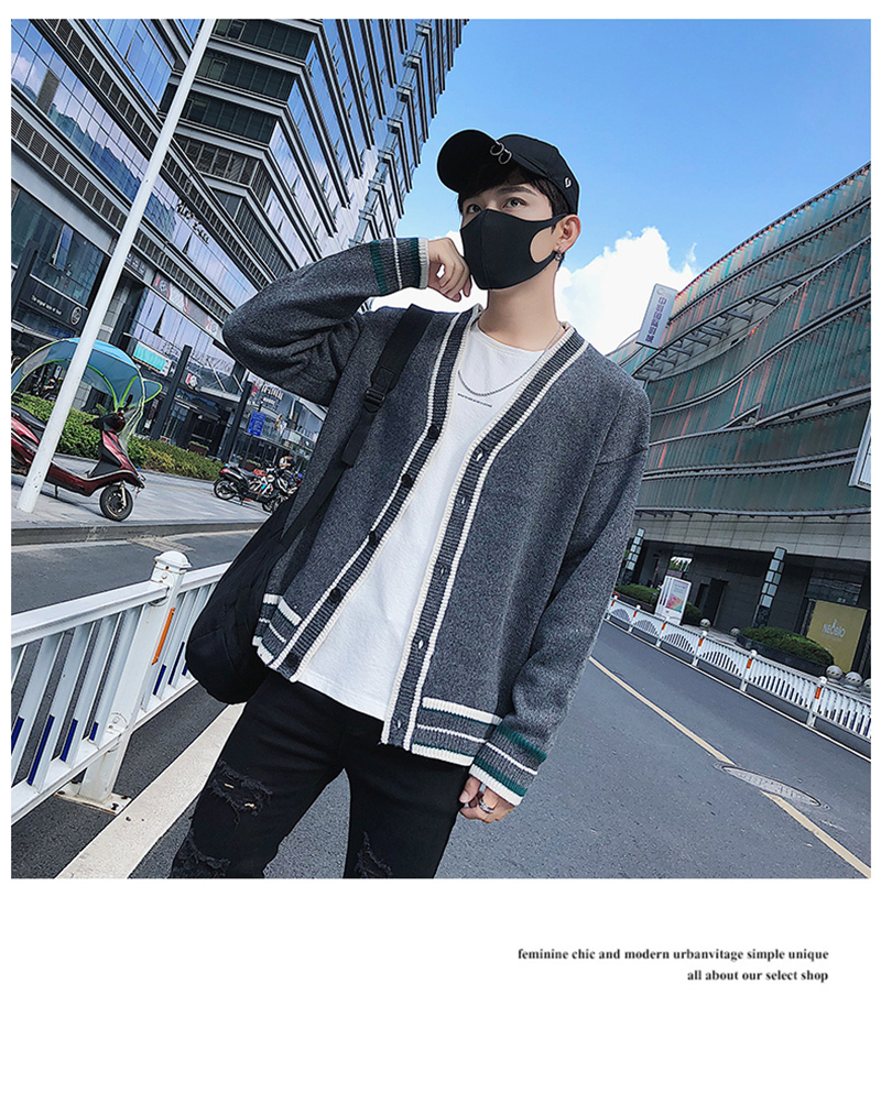 Check Button Cardigan Male Oversize Loose Streetwear (6)