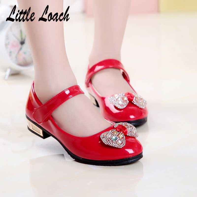 Spring Girls PU Leather Shoes Low Heel Red Black Pink Kids Princess Dress Shoes Autumn Party Stage Fancy Dance Shoes Mocassins