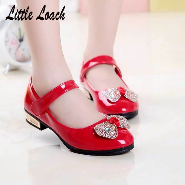 Spring Girls PU Leather Shoes Low Heel Red Black Pink Kids Princess Dress  Shoes Autumn Party caaf0c5d4581