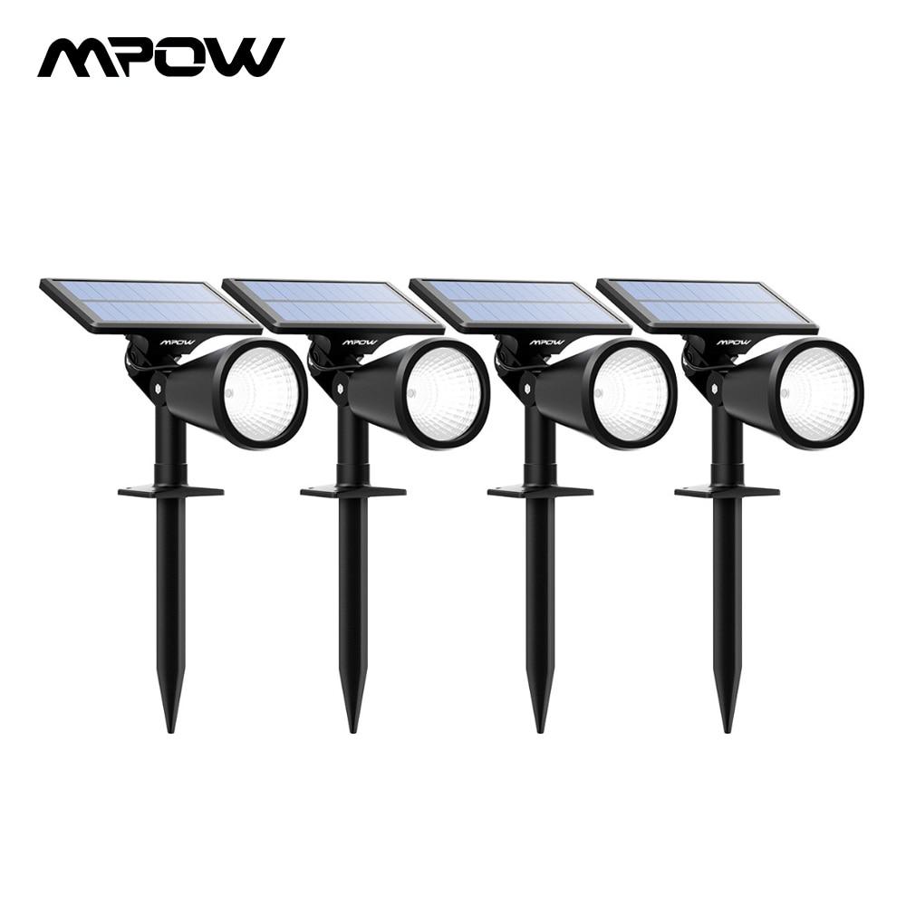 Mpow 4 pièces lampes à gazon lampes solaires 2 en 1 réglable étanche projecteur solaire paysage extérieur pour chemin jardin pelouse cour