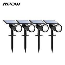 Mpow 4 stücke Rasen Lampen Solar Lichter 2-in-1 Einstellbar Wasserdicht Solar scheinwerfer Im Freien Landschaft Für Pathway garten Rasen Yard